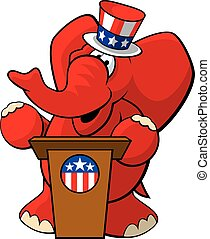 Republican Elephant 2 - A vector illustration of a cartoon...