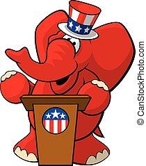 Republican Elephant 2 - A vector illustration of a cartoon...