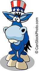 Democrat Donkey - Vector illustration of cartoon political...