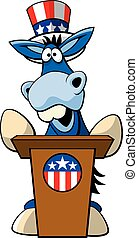 blue donkey2 - Vector illustration of cartoon political...