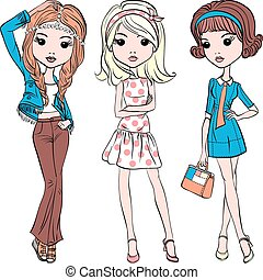 Vector set hipster fashion cute girl