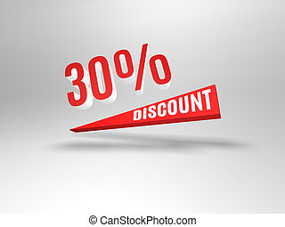 Thirty percent discount symbol.