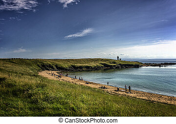 People enjoying the beach in Elie Fife