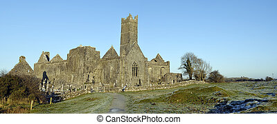 scenic winter capture of a ancient ruin abbey in ireland