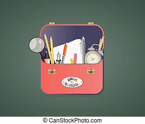 schoolbag - illustration of school bag with object school