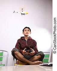 man with RC toy