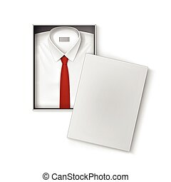 White classic men shirt with red tie in packaging box