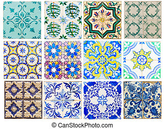 antique tiles of Portugal - set of antique traditional tiles...