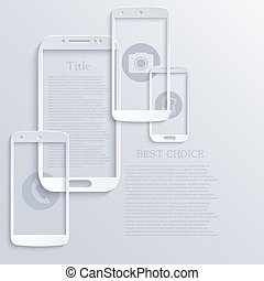 Vector modern light smartphones icons Technology background