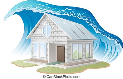 Brick house washes flood Illustration in vector format