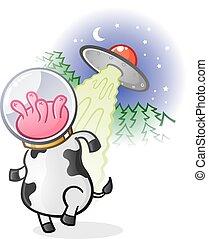 Alien Cow Cartoon Character - A weird alien cow from the far...