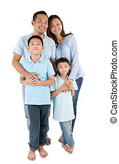 asian family  - portrait of asian family isolated on white