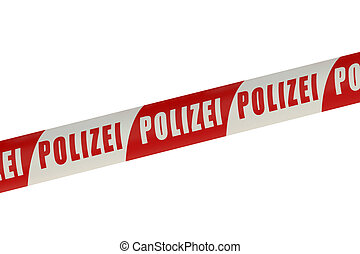 Germany Police Line isolated on white background