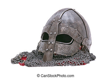 Viking helmet on a white background - Viking helmet isolated...