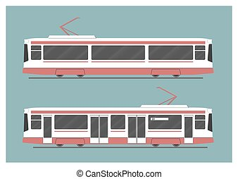 Tramway. Vector illustration. EPS 10, opacity