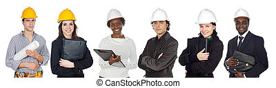 Team of construction workers isolated on white