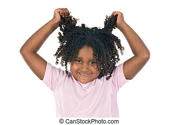 Adorable girl throw her hair on a over white background
