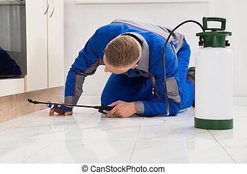 Male Worker Spraying Pesticide On Cabinet - Male Worker...