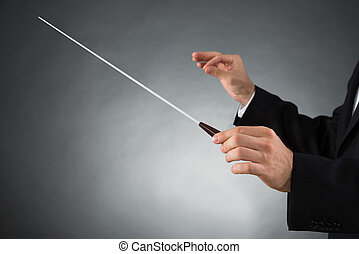 Orchestra Conductor Holding Baton - Close-up Of Male...