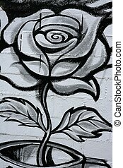 Black and white rose street graffiti detail - Black and...