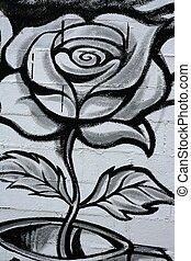 Black and white rose street graffiti detail - Black and...