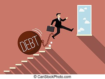 Businessman jumping to success with heavy debt Business...