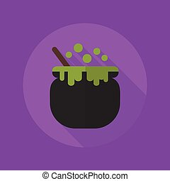 Halloween Flat Icon Witch Pot - Halloween Flat Icon With...