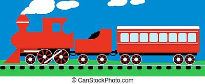 Cute simple red steam train on rail tracks