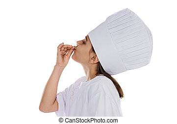 I want to be a cook Girl cook a over white background