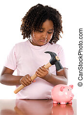 Girl with hammer and money box a over white background
