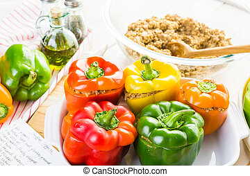 Stuffed peppers - Low calorie stuffed peppers with ground...