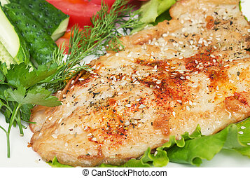 fresh fish - fried fish with spice and vegetables