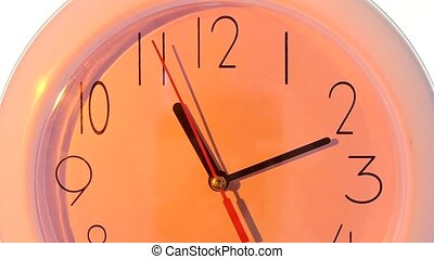 isolated white clock close up, hours day slow motion -...