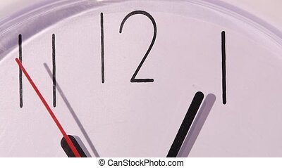 Photo of clock showing several minutes to noon, slow motion...
