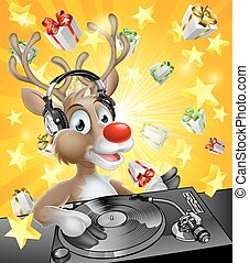 Christmas Reindeer DJ - A cartoon Christmas Reindeer DJ with...