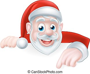 Santa Claus Pointing - Cartoon cute Santa Claus Christmas...