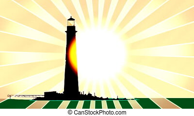 Retro Light House Looping Animated Background