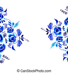 Abstract folk floral background - Abstract floral...