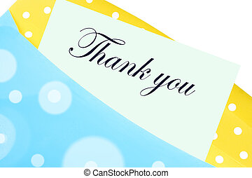 Thank you note or letter in yellow and blue polkadot...