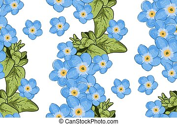 Wildflowers blooming delicate forget-me-not flowers...