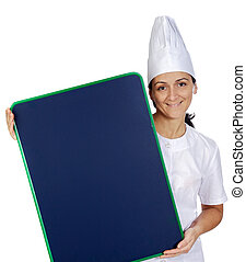 happy attractive cook woman whit slate