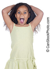 Adorable angry girl a over white background