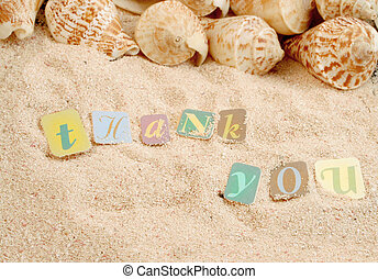 thank you on sand with shells in the background, great for...
