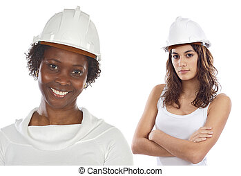 Couple of women engineers a over white background