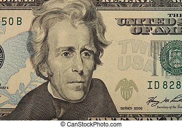 20 Dollar Bill  - A closeup of a US 20 Dollar Bill