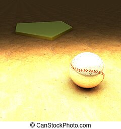 Golden baseball over clay field, 3d render, square image