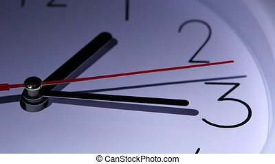 Close-up office clock, dial of hours, slow motion - Close-up...