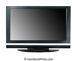 Modern widescreen lcd tv monitor isolated