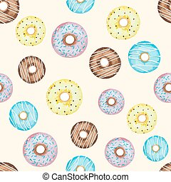 Watercolor seamless pattern with doughnuts. Template for...