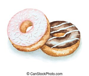 Watercolor donuts isolated on a white background for your...